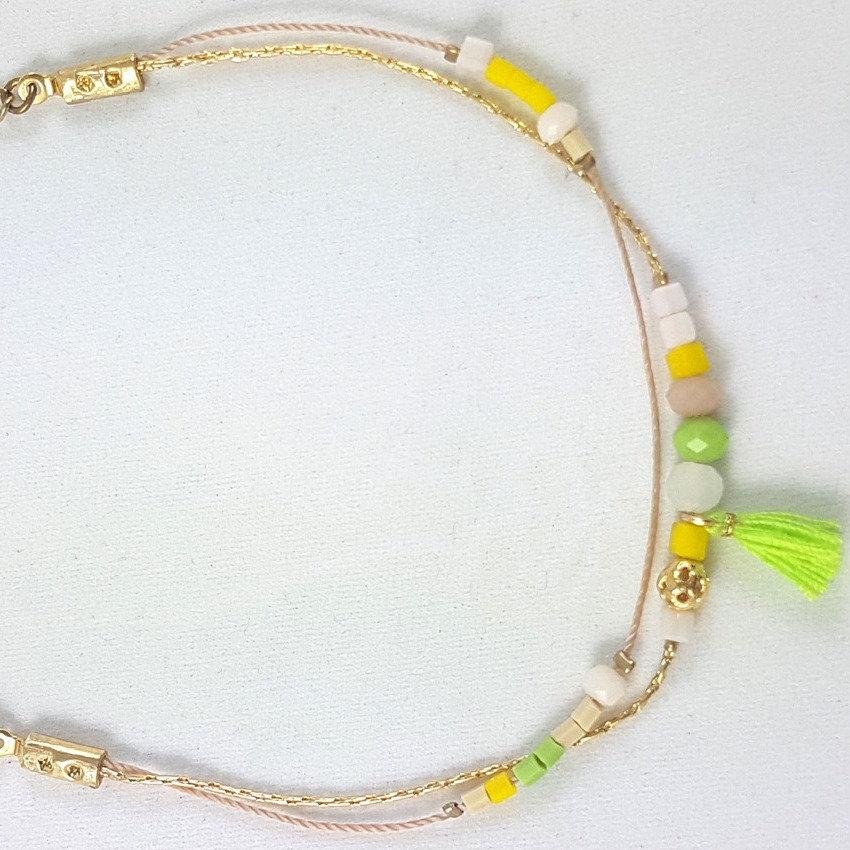 Bracelet multi rangs. Jaune/vert