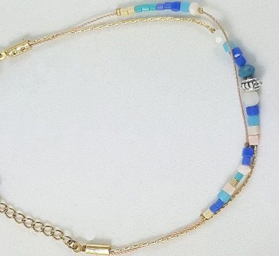 Bracelet multi rangs bleu