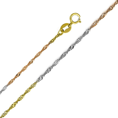14k Tri-Tone (White, Yellow and Rose) Gold 1.2-mm Singapore Chain Necklace