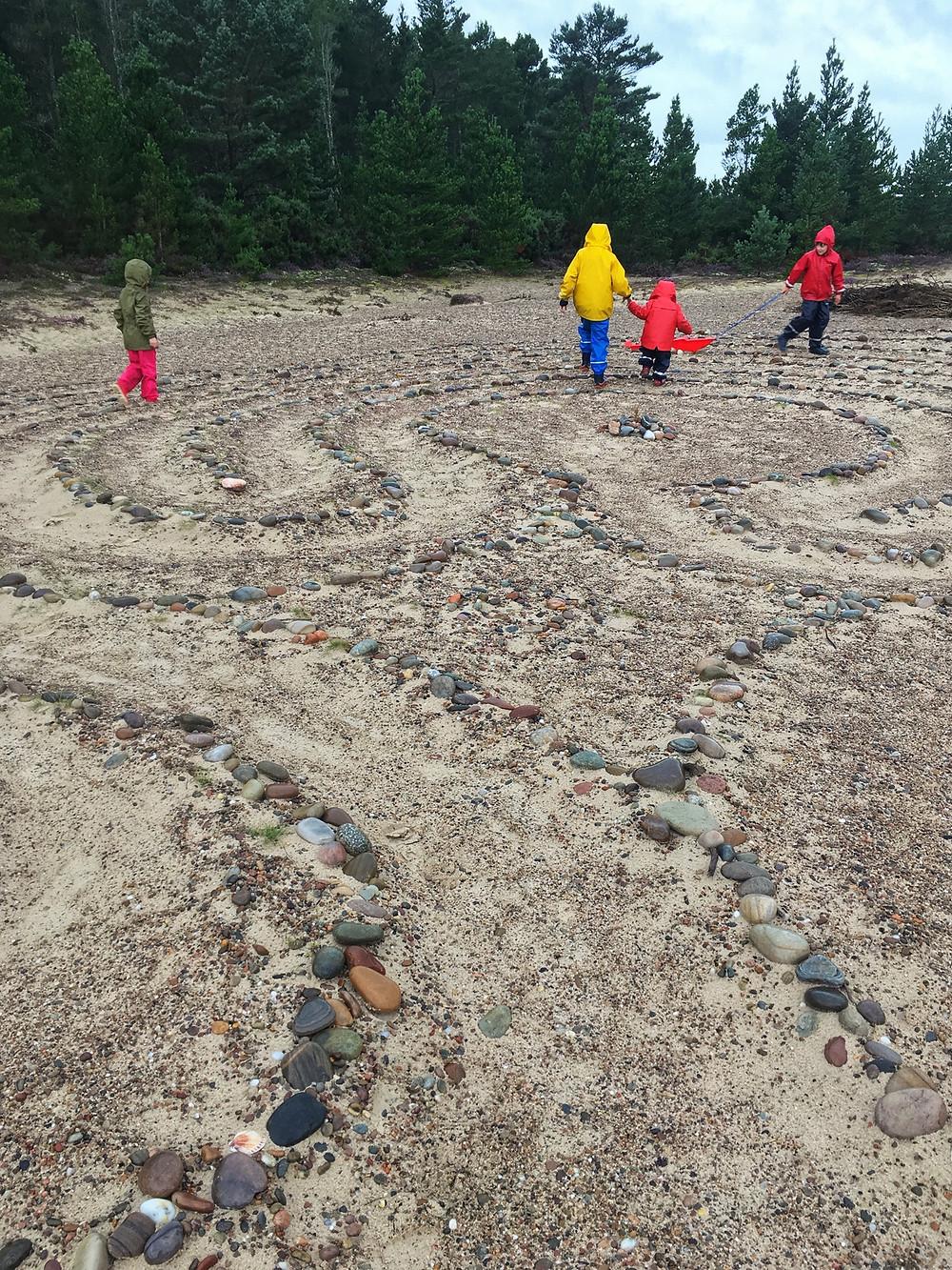 Kids exploring a maze