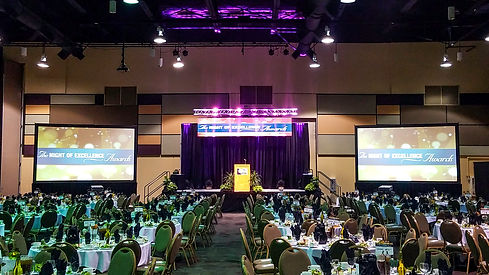 Conference room at event with LED video screens, light and sound