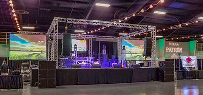 Stage, lighting and audio for a concert. Includes LED Video Walls.