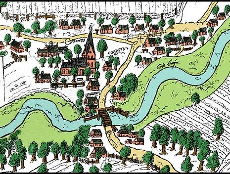 Ausschnitt Karte von ca. 1609: neben der Brücke links der Baum und rechts die Anlegestelle für die Stecknitzkähne