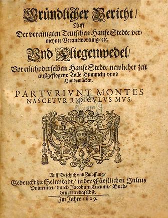 """Titel  """"Gründlicher Bericht ..."""" von 1609"""