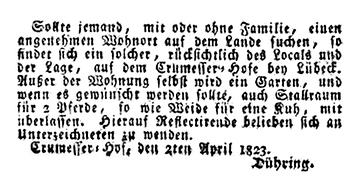 Anzeige 1823