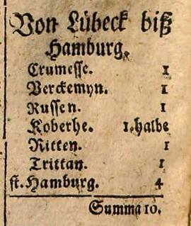 1688: Entfernung in Stunden