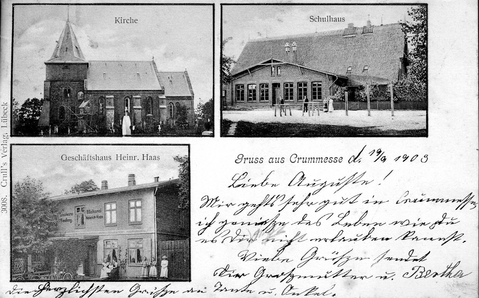 Kirche - Schule - Bäckerei Haas 1903