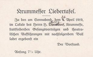 Einladung Krummesser Liedertafel 1919