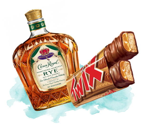 Crown Royal with Twix Candy