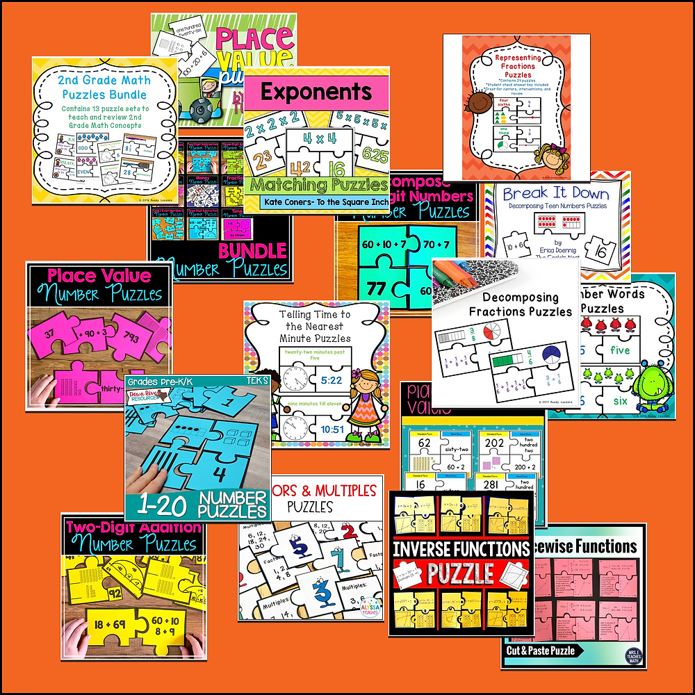 Links to the resources in that image:  https://www.teacherspayteachers.com/Product/Counting-to-20-Game-Puzzle-Matching-Numbers-to-Quantity-Number-Recognition-1-20-2439707   https://www.teacherspayteachers.com/Product/Factors-and-Multiples-Puzzles-FREEBIE-1731343   https://www.teacherspayteachers.com/Product/Place-Value-Number-Puzzles-2255703  https://www.teacherspayteachers.com/Product/Place-Value-Puzzles-Standard-Expanded-Word-Form-446854    https://www.teacherspayteachers.com/Product/Exponent-Matching-Puzzles-2029901   https://www.teacherspayteachers.com/Product/Decompose-Two-Digit-Number-Puzzles-1132954   https://www.teacherspayteachers.com/Product/Piecewise-Functions-Cut-Out-Puzzle-2039671   https://www.teacherspayteachers.com/Product/Break-It-Down-Decomposing-Teen-Numbers-Puzzles-1100188   https://www.teacherspayteachers.com/Product/Kindergarten-NEW-Math-TEKS-K2BD-Number-Puzzles-Numbers-1-20-1297874   https://www.teacherspayteachers.com/Product/2nd-Grade-Math-Centers-2nd-Grade-Math-Games-2nd-Grade-Math-Puzzles-Bundle-3976653   https://www.teacherspayteachers.com/Product/Place-Value-Center-Puzzles-2743833   https://www.teacherspayteachers.com/Product/Number-Puzzles-for-Second-Grade-BUNDLE-2251635   https://www.teacherspayteachers.com/Product/Math-Center-3rd-Grade-Telling-Time-to-the-Nearest-Minute-Game-Puzzles-3MD1-2003950   https://www.teacherspayteachers.com/Product/Two-Digit-Addition-Number-Puzzles-2245091   https://www.teacherspayteachers.com/Product/Inverse-Functions-Puzzle-1912739   https://www.teacherspayteachers.com/Product/Add-Fractions-Like-Denominator-Game-Puzzle-Decomposing-Fraction-4th-Grade-4NF3-3383449