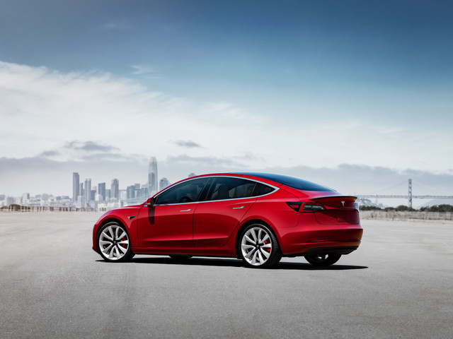 Model 3 Performance - Red Static Rear.jp