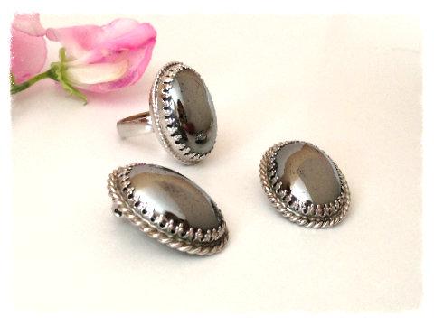 Сет Whiting & Davis Co: кольцо и клипсы