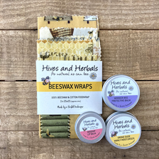 All natural beeswax wraps, lip balms and hand creams by Hives and Herbals.