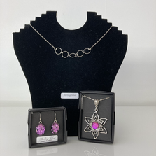 Stunning silver and Dichroic Glass jewellery by Rainbow Glass Creations.