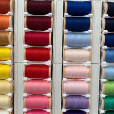 Variety of coloured threads in our haberdashery section.