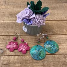Beautiful felt decorations and earrings by Julie Harris.