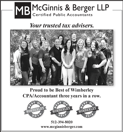 McGinnis and Berger awarded the Best of Wimberley CPA Accountant for three years in a row 2016 2017 and 2018