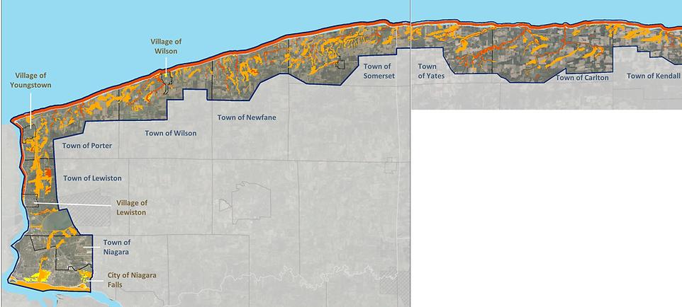 Niagara and Orleans shoreline study area encompassing flood risk areas including Towns of Kendall, Carlton, Yates, Somerset, Newfane, Porter, Wilson, Lewiston, Niagara; Villages of Wilson, Youngstown, Lewiston; City of Niagara Falls