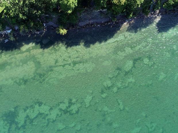 overhead view of lake ontario shoreline