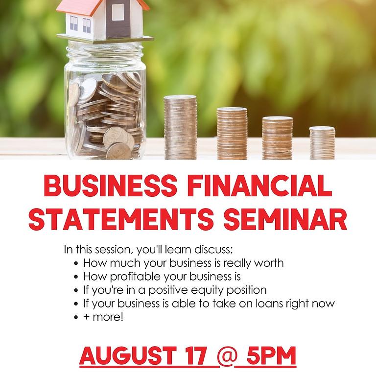 Business financial statements seminar