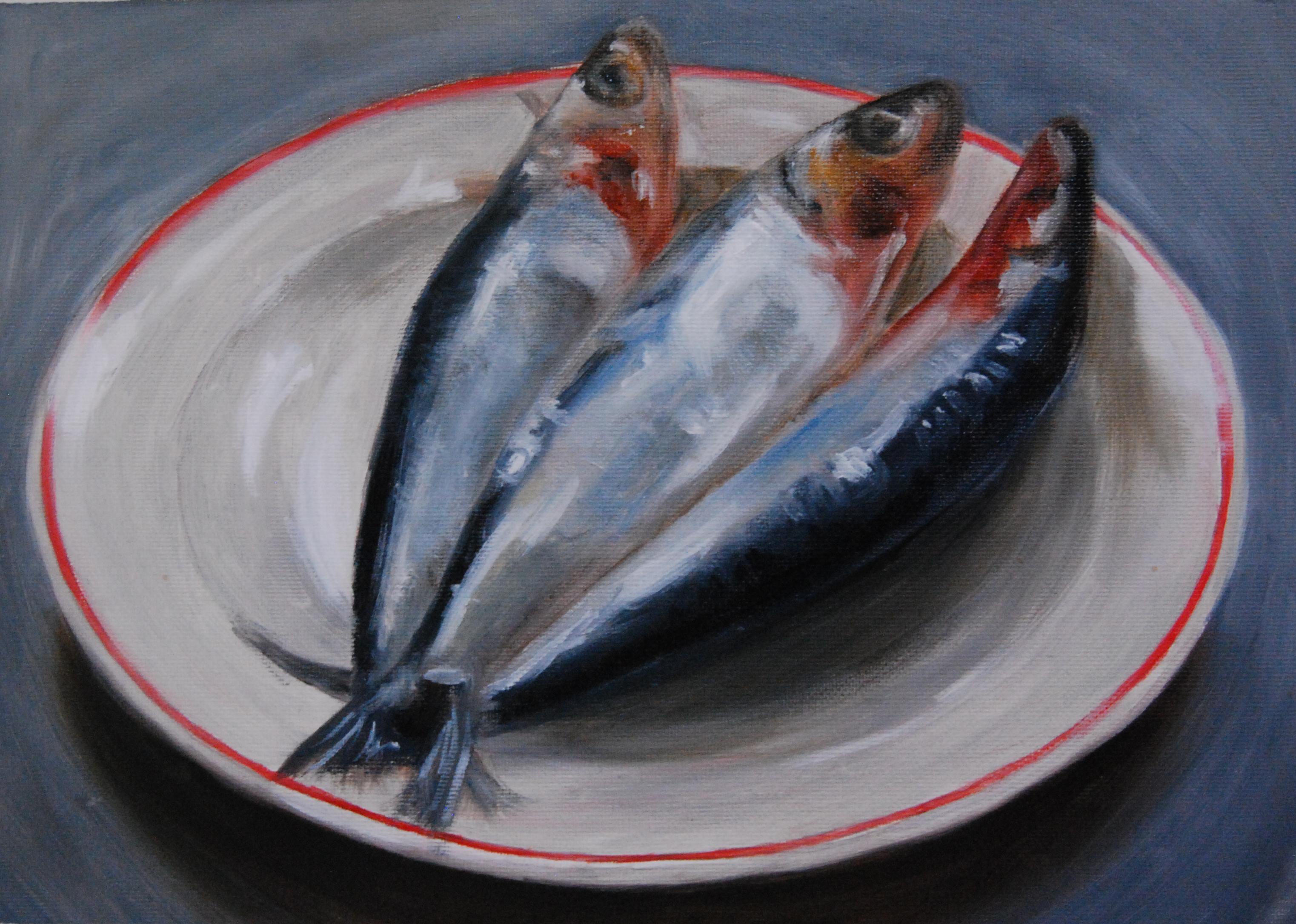 Sardines on plate