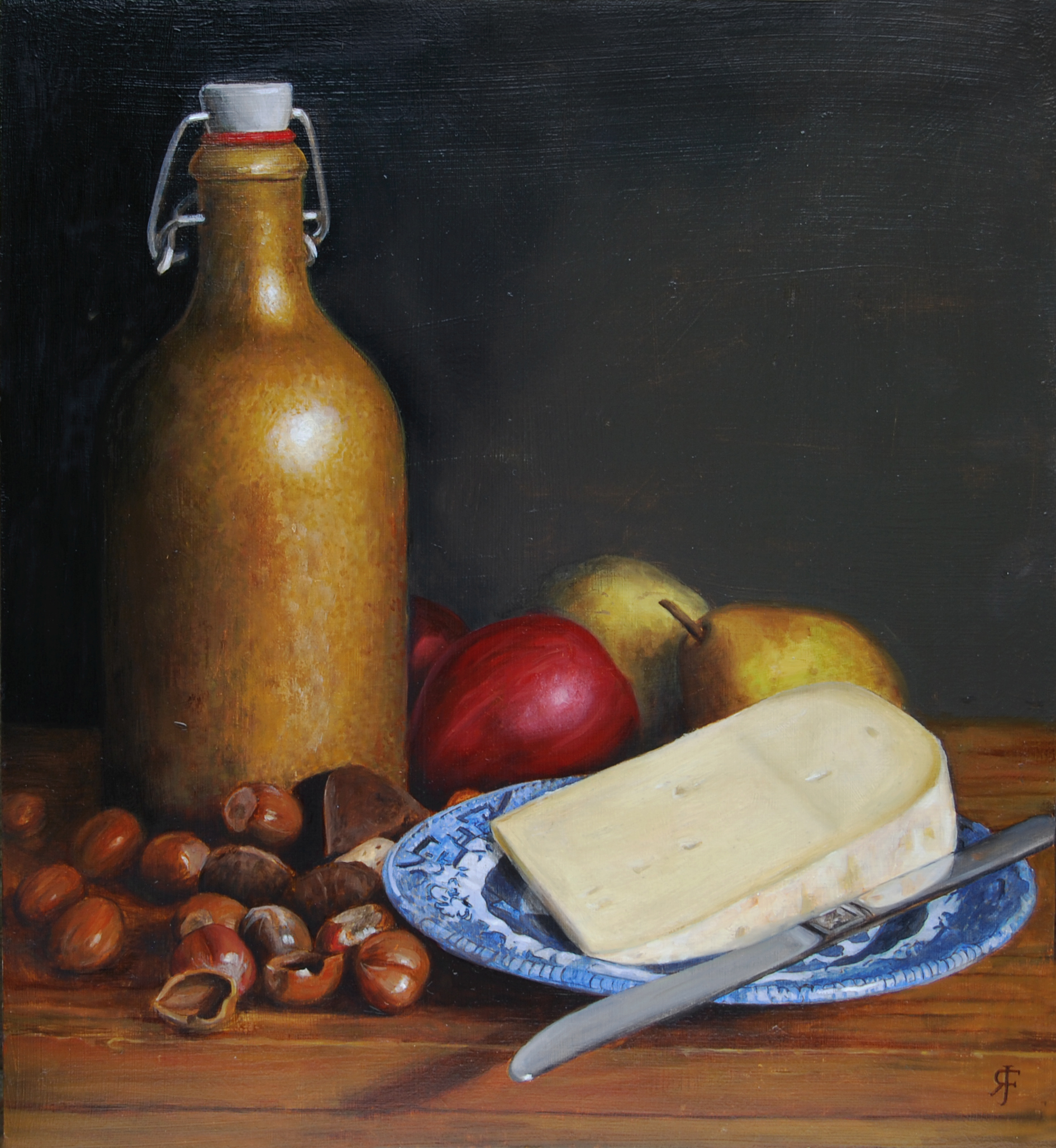 Cheese and Hazelnuts Still Life