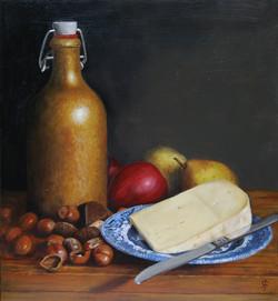 Cheese and Hazelnuts Still Life