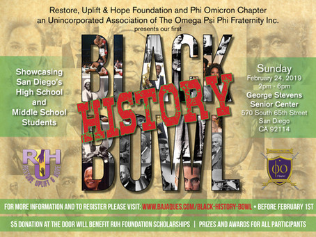 Restore, Uplift & Hope Foundation kicks off their Annual  Black History Quiz Bowl