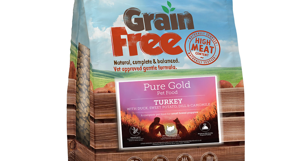 grain free puppy chicken turkey salmon sweet potato and carrot 12kg