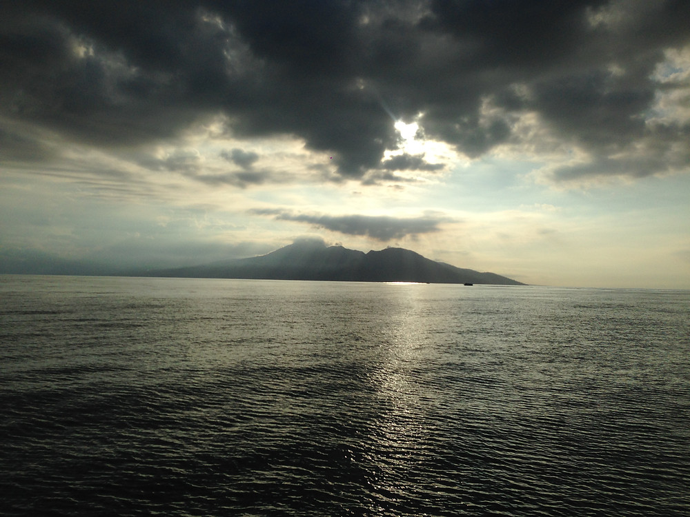 View of Mt Agung and Mt Batur on the speedboat from the Gili's
