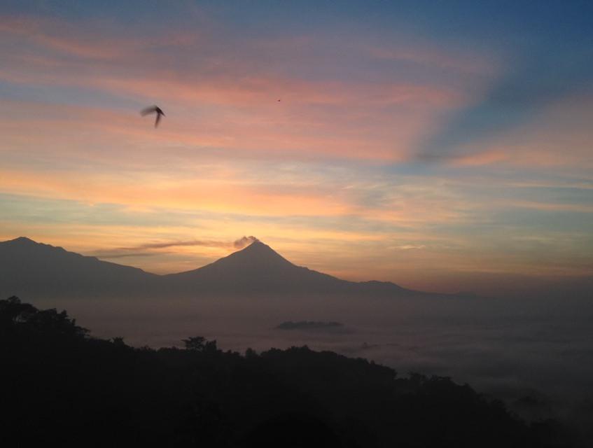Pre sunrise over Mt Merapi