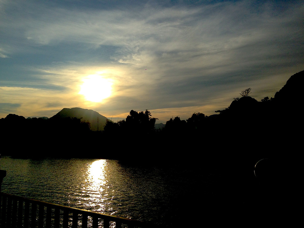 Nam Song River, sunset and background mountains