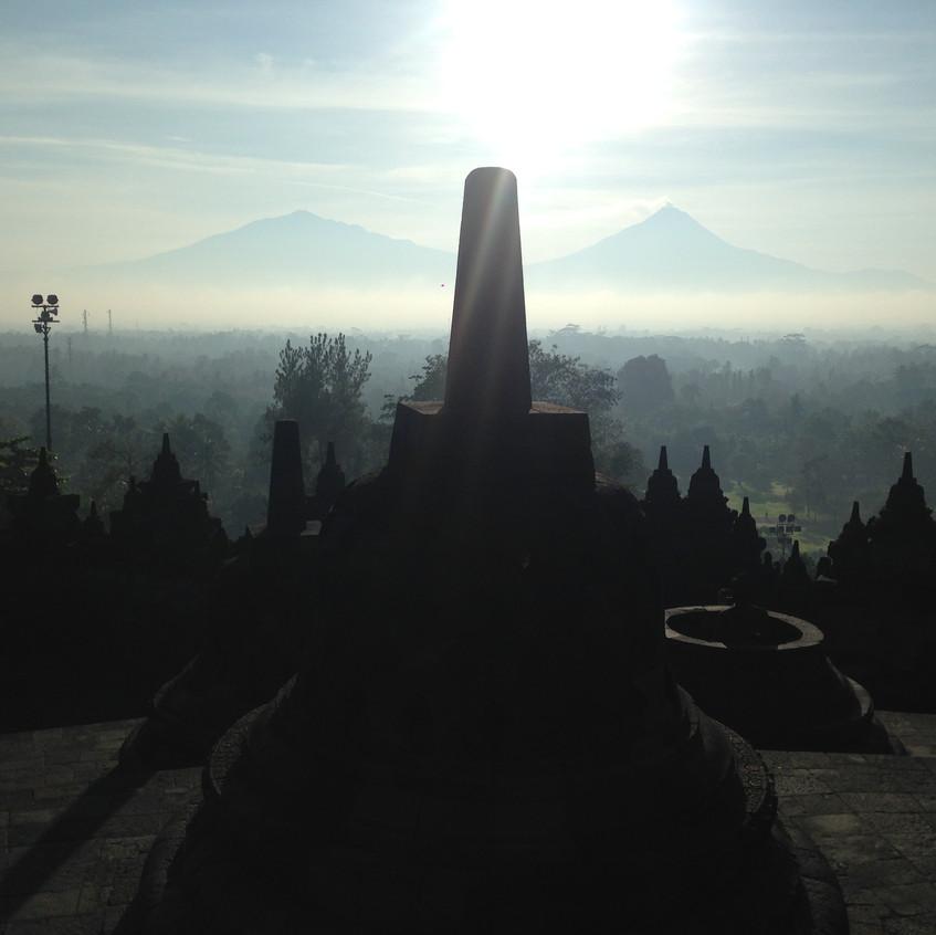 Mt Merapi and Borobudur Temple
