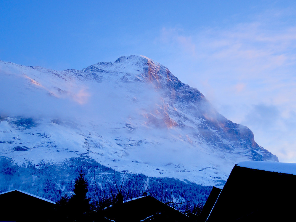 Sunlight catching the north face of the Eiger Mountain - taken from our chalet in Grindelwald