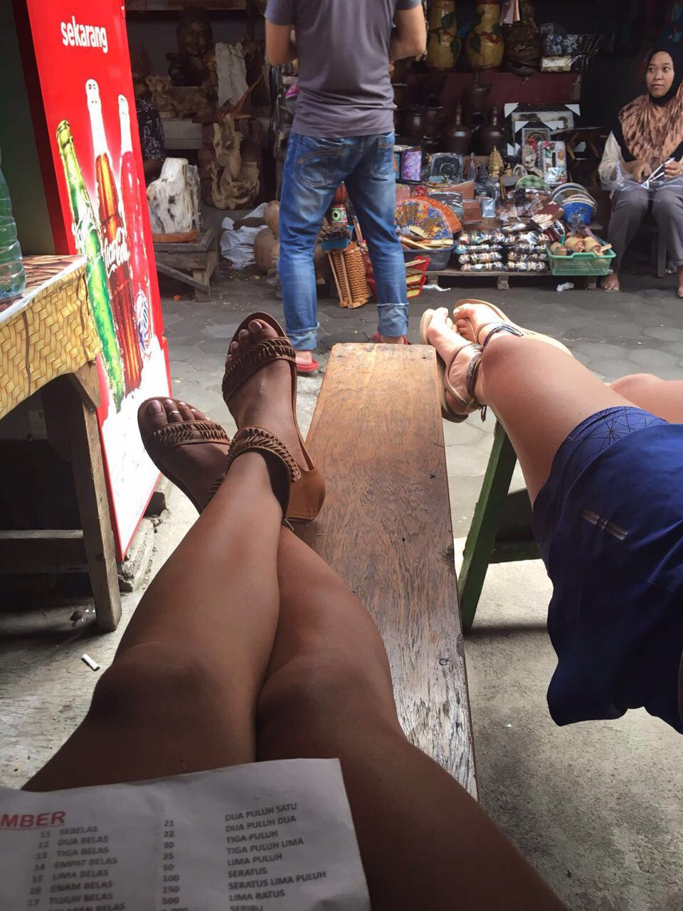 Putting our feet up in one of the local market warungs outside Prambanan temple