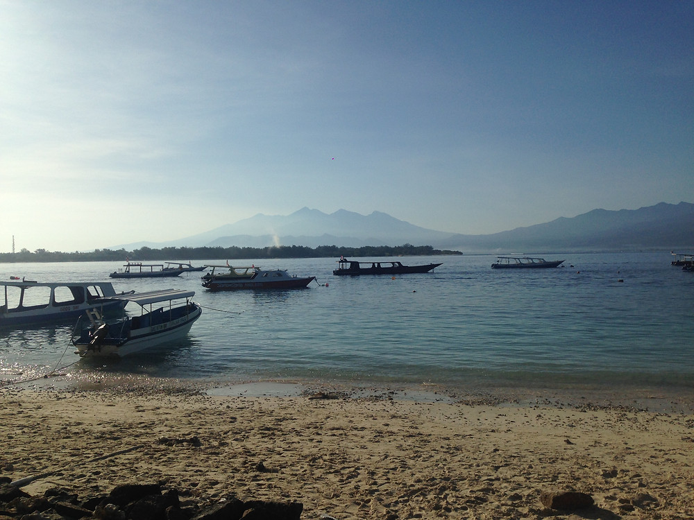 View of Mt Rinjani from the Gili T beach, in front of Diversia