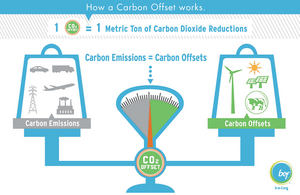 Visual diagram of offsetting carbon emissions