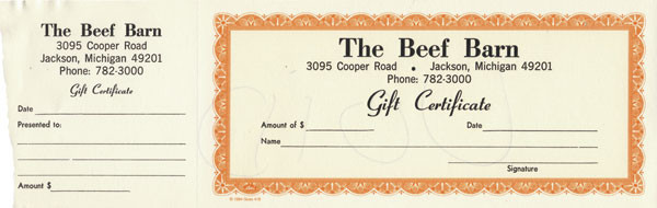 Beef Barn gift certificate