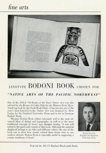 "Fine arts- Linotype Bodoni Book chosen ""Native arts of the pacific northwest"""