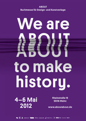the poster for ABOUT, the Independent Publishing Fair in Mainz, Germany