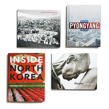 Books- Welcome to Pyongyang, Inside North Korea, Darfur: Twenty Years of War and Genocide in Sudan,  Pictures Without Borders