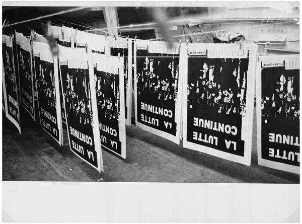 Silk-screened posters drying at the Atelier Populaire, May 1968, photograph by Philippe Vermès