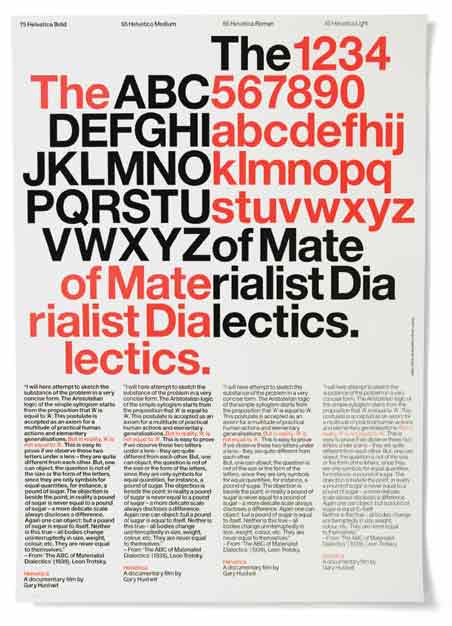 "Experimental Jetset, ""The ABC of Materialist Dialectics"" poster (2006). Designed for Plexifilm as a fundraiser for Gary Hustwit's Helvetica documentary. A2-sized, letterpress print."