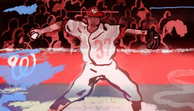 illustration of National's pitcher Stephen Strasburg's