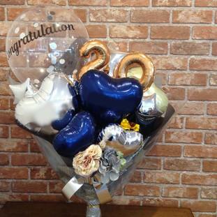 成人式お祝いバルーン花束 ミッドナイトブルー