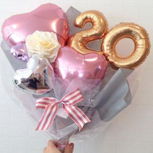 成人式用花束型バルーンギフト ピンクハート20