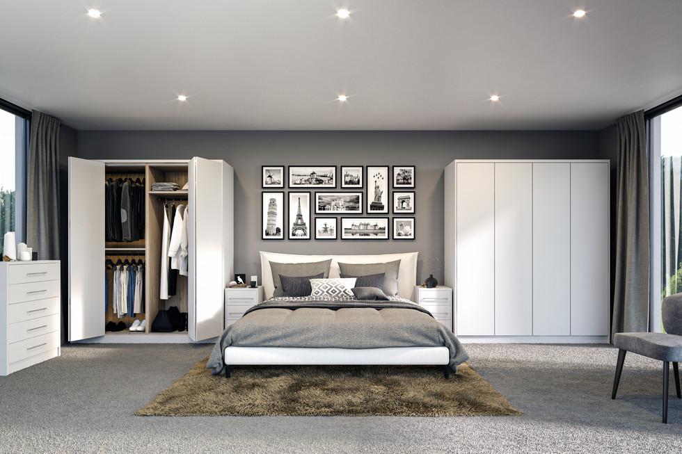 complete bedrooms bi fold doors white