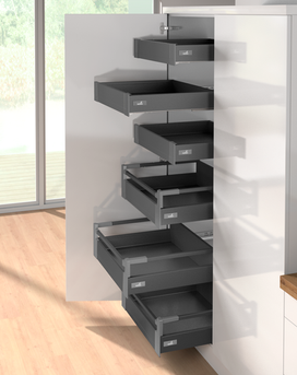 Internal independent high sided drawers