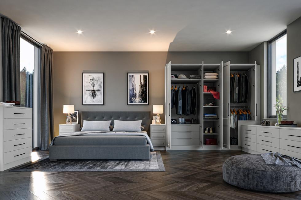 complete bedrooms open hinged door