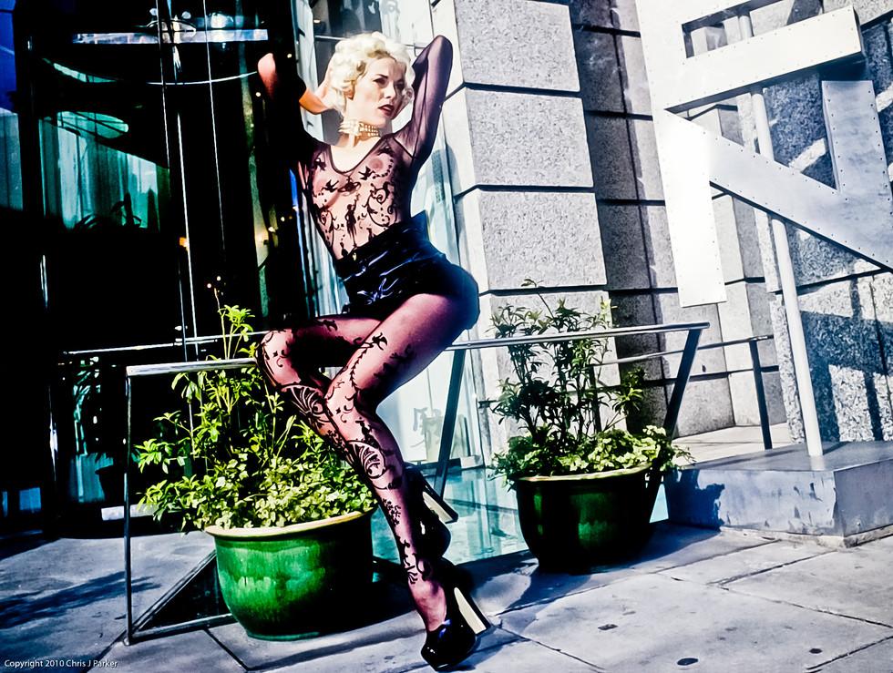 Vivian Westwood design modle poses